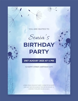 Modèle d'invitation d'anniversaire aquarelle peint à la main