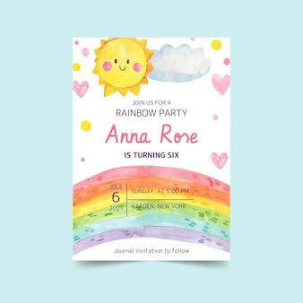 Modèle d'invitation d'anniversaire arc-en-ciel aquarelle peint à la main