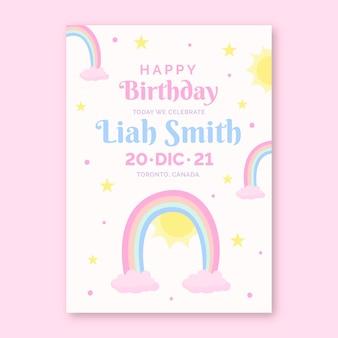 Modèle d'invitation d'anniversaire arc-en-ciel plat