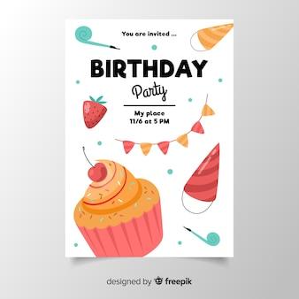 Modèle d'invitation anniversaire au design plat