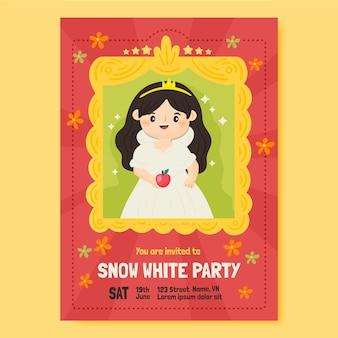 Modèle d'invitation d'anniversaire blanche neige dessiné à la main