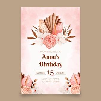 Modèle d'invitation d'anniversaire boho aquarelle