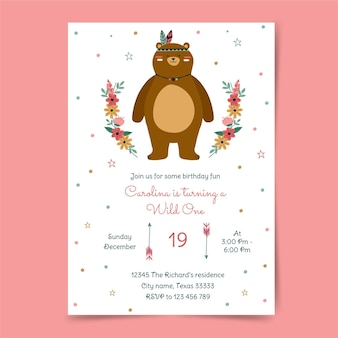 Modèle d'invitation d'anniversaire boho dessiné à la main