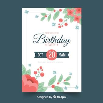 Modèle d'invitation anniversaire cadre fleur