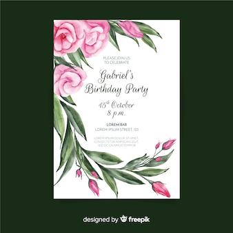 Modèle d'invitation d'anniversaire avec concept floral