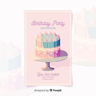 Modèle d'invitation anniversaire dans un style aquarelle