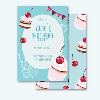 Modèle d'invitation d'anniversaire dans un style plat avec mignon