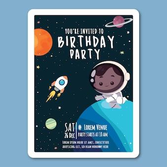 Modèle d'invitation d'anniversaire dans un style plat