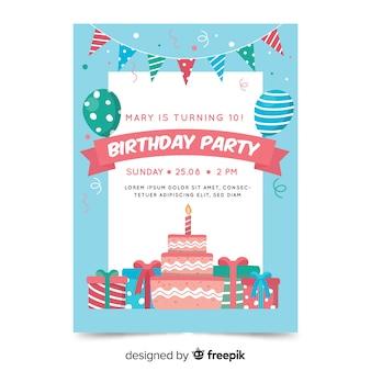 Modèle d'invitation anniversaire dans un style plat
