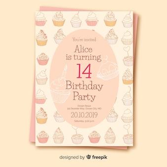 Modèle d'invitation anniversaire design plat