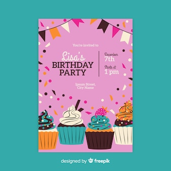 Modèle d'invitation anniversaire dessiné à la main
