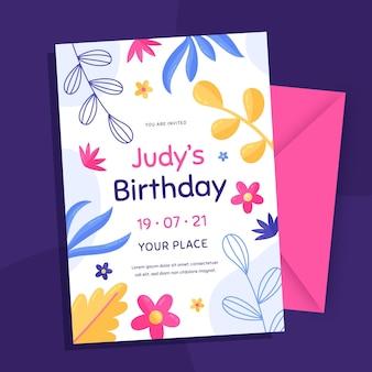 Modèle d'invitation d'anniversaire dessiné à la main