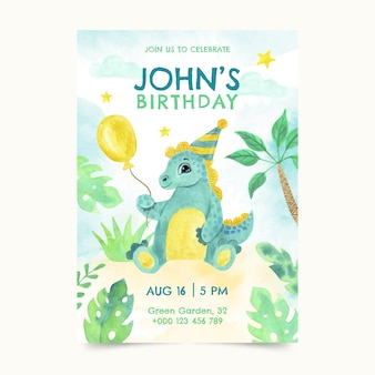 Modèle d'invitation d'anniversaire de dinosaure aquarelle peint à la main