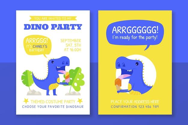 Modèle d'invitation d'anniversaire de dinosaure dessiné à la main