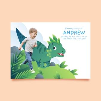 Modèle d'invitation d'anniversaire dinosaure plat avec photo
