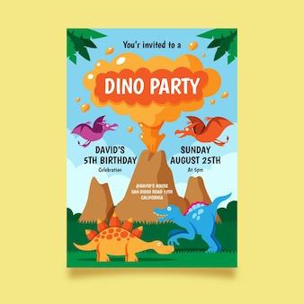 Modèle d'invitation d'anniversaire de dinosaure plat