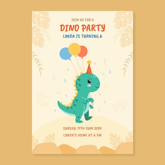 Modèle d'invitation d'anniversaire avec dinosaure