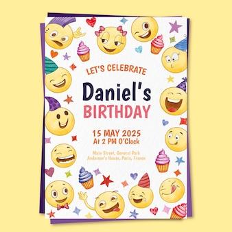 Modèle d'invitation d'anniversaire emoji aquarelle peint à la main