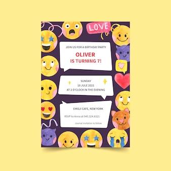 Modèle d'invitation d'anniversaire emoji aquarelle peinte à la main