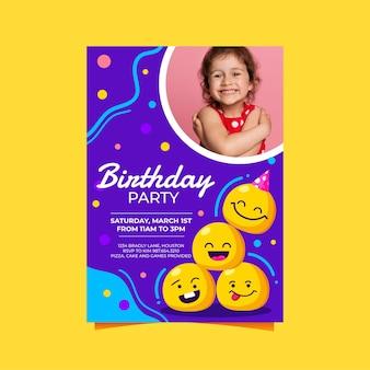 Modèle d'invitation d'anniversaire emoji de dessin animé avec photo