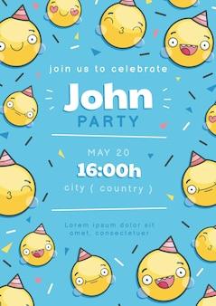 Modèle d'invitation d'anniversaire emoji de dessin animé