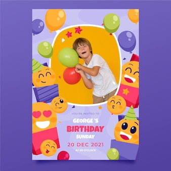 Modèle d'invitation d'anniversaire emoji avec photo