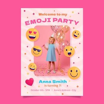 Modèle d'invitation d'anniversaire emoji plat avec photo
