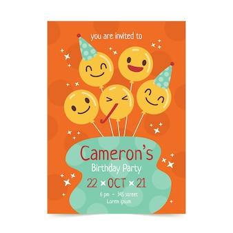 Modèle d'invitation d'anniversaire emoji plat