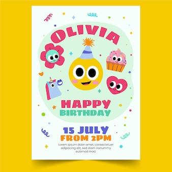Modèle d'invitation d'anniversaire emoji