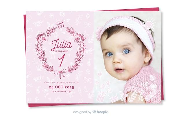 Modèle d'invitation anniversaire enfants avec photo