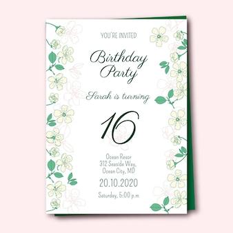 Modèle d'invitation d'anniversaire avec des fleurs