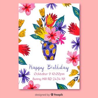 Modèle d'invitation d'anniversaire floral aquarelle