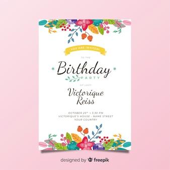 Modèle d'invitation d'anniversaire floral coloré