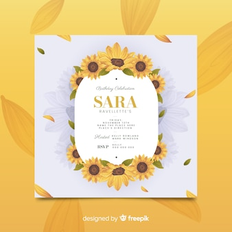 Modèle d'invitation d'anniversaire floral jaune
