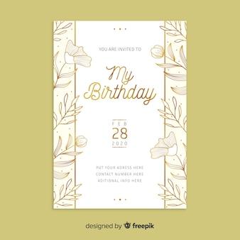 Modèle d'invitation d'anniversaire floral