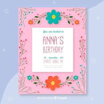 Modèle invitation anniversaire floral