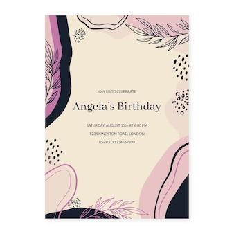 Modèle d'invitation d'anniversaire de formes abstraites dessinées à la main