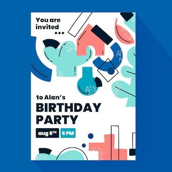 Modèle d'invitation d'anniversaire de formes abstraites plates dessinées à la main