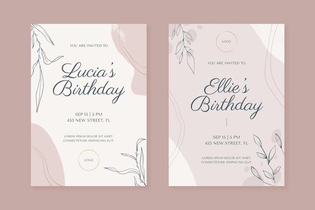 Modèle d'invitation d'anniversaire de formes abstraites