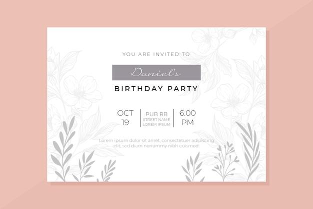 Modèle d'invitation d'anniversaire avec image