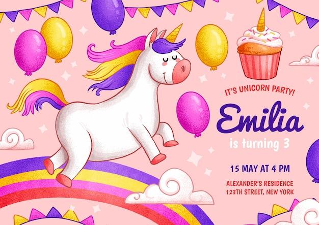 Modèle d'invitation d'anniversaire licorne dessiné à la main