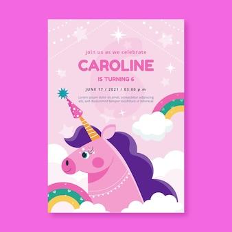 Modèle d'invitation d'anniversaire licorne plat bio