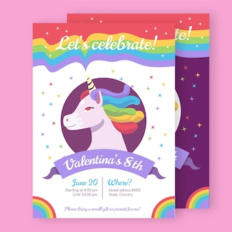 Modèle d'invitation d'anniversaire licorne plate