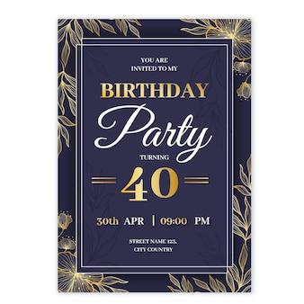 Modèle d'invitation d'anniversaire de luxe doré réaliste