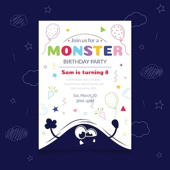 Modèle d'invitation d'anniversaire monstre dessiné à la main