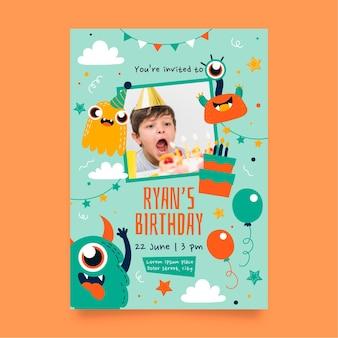 Modèle d'invitation d'anniversaire de monstre avec photo