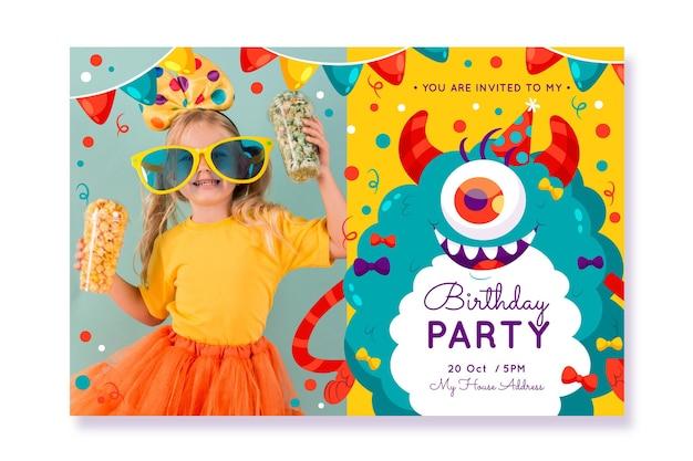 Modèle d'invitation anniversaire monstre plat avec photo
