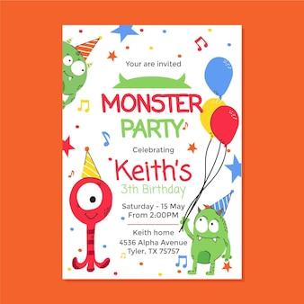 Modèle d'invitation d'anniversaire de monstre
