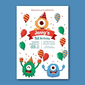 Modèle d'invitation d'anniversaire de monstres dessinés à la main