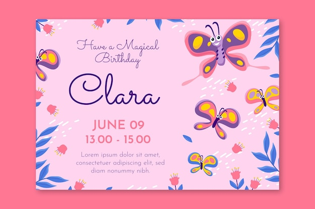 Modèle d'invitation d'anniversaire de papillon de dessin animé